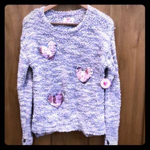 Justice Girls Sweater with sequin hearts. Size 14